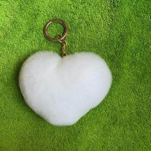 Accessories - Heart shaped Pom Pom bag charm puffy rabbit fur